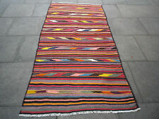 Old Hand Made Traditional Persian Oriental wool Colourful Red Kilim 247x115cm