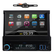 "7""Single 1Din Car Stereo DVD Player Radio Bluetooth Ipod USB SD TV+FREE Camera"