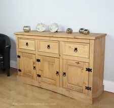 Wooden Antique Sideboard 3 Drawer 3 Door Shelves Pine Large Mercers Furniture