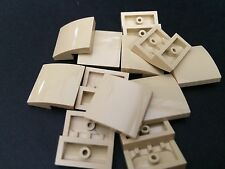 LEGO New Lot Of 12 Tan Smooth Tile Plate With Bow 2X2X2/3 Roof Floor Tiles