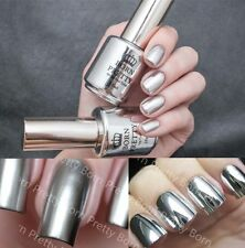 2Pcs 15ML Metallic Mirror Effect Nail Polish Metal Silver Varnish &15ML Top Coat