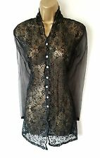 GOTHIC Black Sheer Blouse 12 14 Victorian Mourning Vintage Steampunk