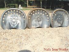THREE STEEL tractor seats Metal Farm or bar stool tops Pan Style Large