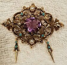 Vintage 14k Gold Amethyst & Seed Pearl Brooch Pendant antique turquoise