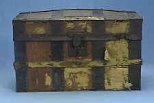 Antique 1870's SALESMANS SAMPLE CAMEL BACK TRUNK w LIFT OUT TRAY CHILDS DOLL
