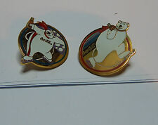 2x  Coca Cola Polar Bear Ice Skating /Winter Sports badges. set A