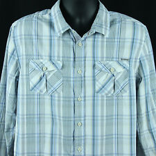 Zanerobe Mens Size L Button Front Shirt L/S Plaid Designer Online Clothing Large