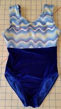 Revolution Gymnastics Leotard Blue Velour Wave Foil Girls XS Child extra small