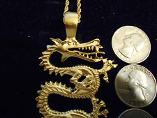 bling gold plated LARGE chinese fire dragon pendant charm chain hip hop necklace