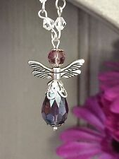 Handmade Silver Guardian Angel  Hanging Pendant Mirror Car Charm Ornament Gift