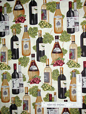 Vineyard Fabric - Wine Bottle Grapes Ivory Robert Kaufman Vineyard #13567 - Yard