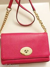 NWT Coach 53083 CROSSTOWN crossbody in polished pebble leather Pink Ruby