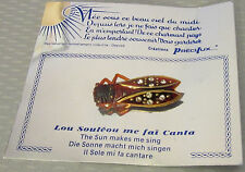 vtg French TORTY CELLULOID RHINESTONE CICADA PIN lucky bug ORIGINAL CARD