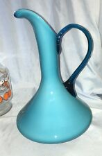 Art Glass Turquoise Blue Cased Glass Genie Pitcher Vase
