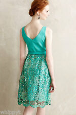 "NWT $248 ANTHROPOLOGIE ""EMERAUDE"" Green Lace Dress by EVA FRANCO size 8 STUNNING"