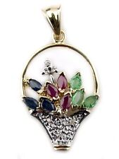 Women's Sapphire, Ruby & Emerald Basket Pendant in 14k Solid Yellow Gold
