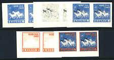 NORWAY 1949 Christmas Seal - 5 progressive proof pairs - Mint Never Hinged