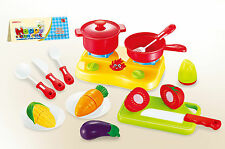 KIDS CHILDRENS ROLE PLAY COOKING STOVE TOY 17 PCS PLAY SET FRUITS VEGETABLES