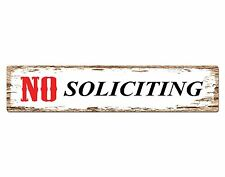 SP0485 NO SOLICITING Street Sign Bar Store Cafe Office Restaurant Chic Decor