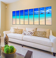 Island beach print on canvas, beach canvas prints 8 panel print beach wall art