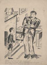 """""""LA PREMIERE CIGARETTE"""" Dessin à l'encre de Chine par RIMEL (années 30)"""