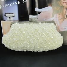 Women's Pearl Day Clutches Flower Beaded Bridal Handbag Party Evening Bag Beige
