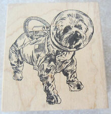 Astronaut Puppy Dog In Costume Space Suit Viva Las Vegas Wooden Rubber Stamp