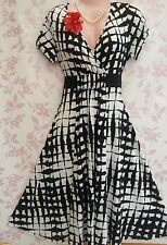 NEXT Vintage 1950s Rockabilly Style Black White Tea Dress UK 10