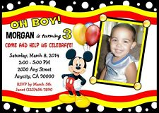 MICKEY MOUSE CUSTOM PRINTABLE BIRTHDAY PARTY INVITATION & FREE THANK U CARD