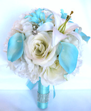Wedding Bridal Bouquets 17 piece set Silk Flowers IVORY CREAM AQUA Calla LILY