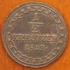 1812 A Austria 1/2 Kreuzer Km# 2109 Franz Ii