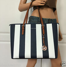 NWT Michael Kors Medium Jet Set Travel Saffiano Leather Tote Bag Navy Blue White