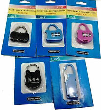 (set of 3) 3 Digit Resettable code Password Number Lock Combination Bag Padlock.