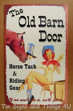 Old Barn Door Horse Tack & Riding Gear vtg Cowgirl TIN SIGN metal wall decor OHW