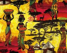 "Fabric African Women Scenic Sunset on Yellow Cotton by the 1/4 yard (= 9"")"