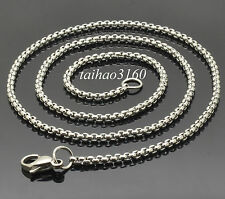 """23.62"""" Men' Silver 316 Stainless Steel 3MM Smooth Box Chain Link Necklace SB005"""