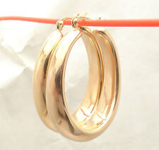 """1.5"""" Bellezza Large All Shiny Oval Style Hoop Earrings Bronze Rose Pink Color"""