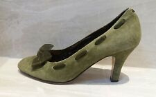 MARKS AND SPENCER VINTAGE 1950s STYLE GREEN SUEDE BOW SHOES 6 EU 39.5