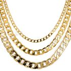 4/8/10MM CUT CURB Yellow Gold Filled GF Necklace Boys Mens Chain 18-36'' FASHION
