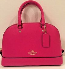 NWT Coach 37217 mini Sierra Satchel Crossgrain Leather Handbag Pink Ruby