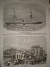 Paddington Station London & New West India steam Ship Neva 1868 print  Ref W1