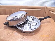 "FLAVORSEAL CORY 11"" Skillet Fry Pan Egg Poacher & Dome Lid 18-8 Pluramelt"