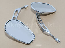 Chrome Edge Cut RearView Side Mirrors For Harley Sportster Softail Touring Dyna