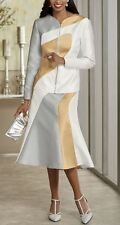 Andi Brooklyn Skirt Suit NEW NWT size 14 Zipper Front Jacket Gold Silver White
