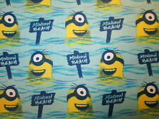 MINION ALL NATURAL BEACH MINIONS DESPICIBLE ME BLUE COTTON FABRIC FQ