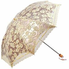 LACE YELLOW BEIGE PARASOL UMBRELLA ULTRAVIOLET PROOF FOLD UMBRELLA FREE SHIP!