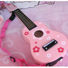 "New 23"" Beginners Practice Acoustic Pink Guitar w/ Pick 6 String Children Kids"
