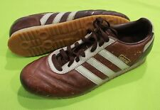 Adidas Tennis Shoes Sneakers Sz 9.5 Leather Brown Blue Lace Up Mens Soccer