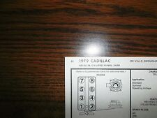 1979 Cadillac Series Models 7.0 Litre 425 V8 4BBL SUN Tune Up Chart Great Shape!