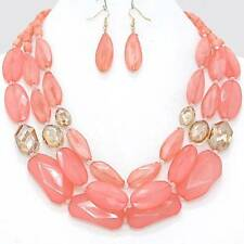 Chunky Bead Peach Brown Gold Chain Necklace Earring Set Fashion Costume Jewelry